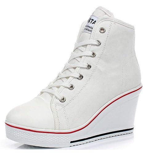 distribuidor mayorista mejor selección comprar auténtico Padgene Zapatillas Moda de Lona Zapatos Altos Tenis Deportivos Casual  Calzado Canvas para Mujer con Cordones y Cremallera Lateral