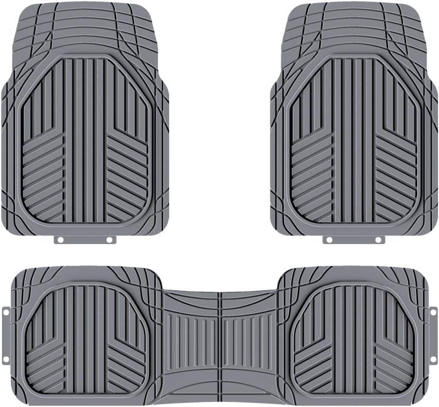 AmazonBasics 3-Piece All-Season Odorless Heavy Duty Rubber Floor Mat for Cars, SUVs and Trucks, Gray