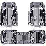 Amazon Basics 3-Piece All-Season Heavy Duty Rubber Floor Mat for Cars, SUVs and Trucks, Gray