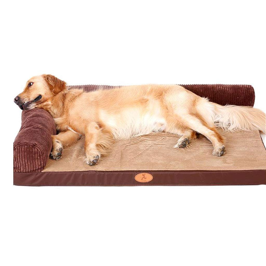 B M B M Dog Bed Cat Bed Pet Bed Fully Detachable and Washable Kennel Cat Mat Large Dog Brown (color   B, Size   M)
