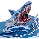 Paper Love Shark Pop Up Card, 3D Popup Greeting Cards, for Fathers Day, Mothers Day, Birthday, Thank You, All Occasion