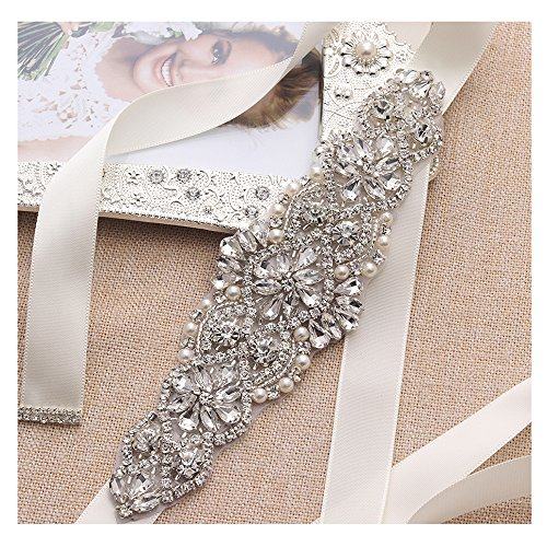 Ivory Sash Crystal Applique Bridal Belts In Silver With Pearls Beaded On Wedding Prom Dress-7.7In2In