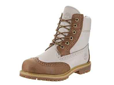Image Unavailable. Image not available for. Color  Timberland Womens 6 Inch  Premium Brogue Tan Off White Boot ... b881d18864