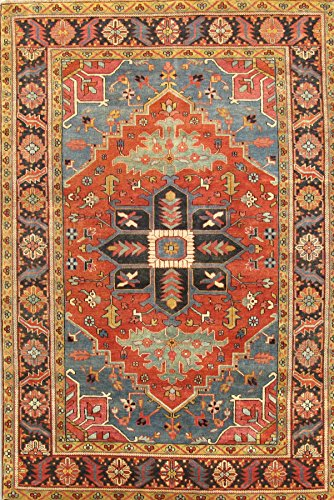 Pasargad Carpets P-18 6X9 Heriz Serapi Collection Hand Knotted Wool Area Rug, 6' x 9'