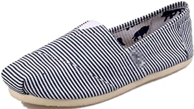Jackdaine Tom Ms. Stripes Lazy Canvas Shoes Low to Help Flat Shoes Carrefour Shoes Blue