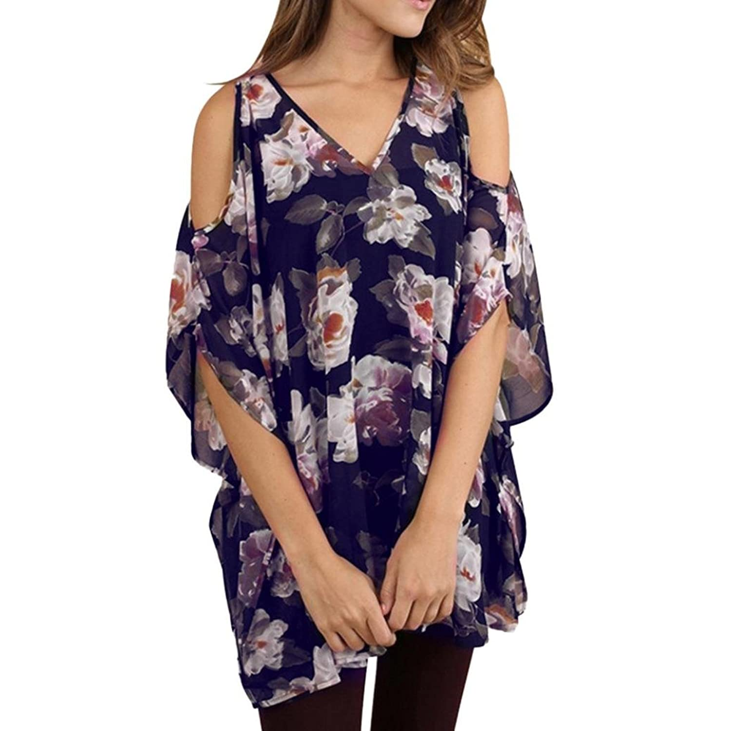 13d2668f8d1ae0 Cold Shoulder Short Sleeve T Shirts V Neck Tops Casual Criss Cross Tunic  Blouse Womens Shirts Casual Tee Shirts V Neck Short Sleeve Button up Loose  Fits ...