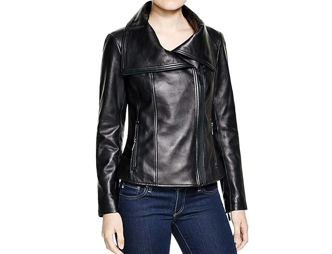 9061b1dbd3b2 Michael Kors Asymmetric Zip Front Moto Leather Jacket-Black-S at Amazon  Women s Coats Shop