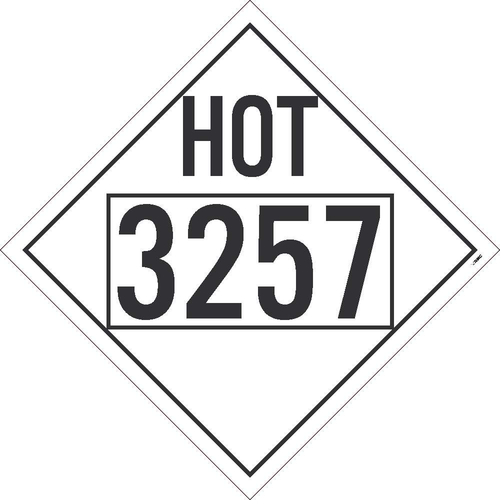 Placard, HOT, 3257, Four Digit, 10.75X10.75, Removable PS Vinyl, Pack 10 by National Marker