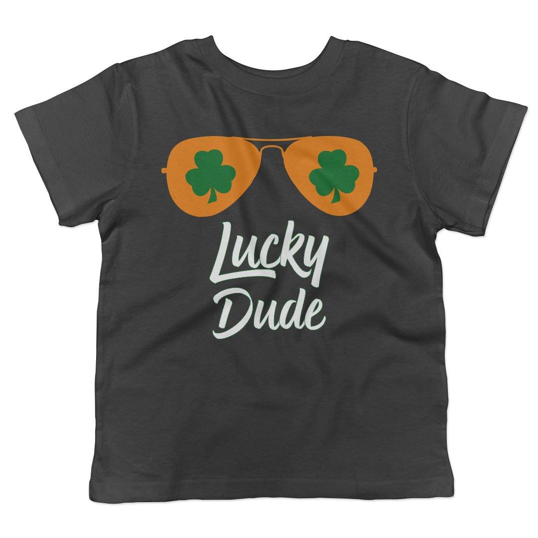 Lucky Dude Shamrock Aviators Toddler Fine Jersey T-Shirt (Black, 3T)