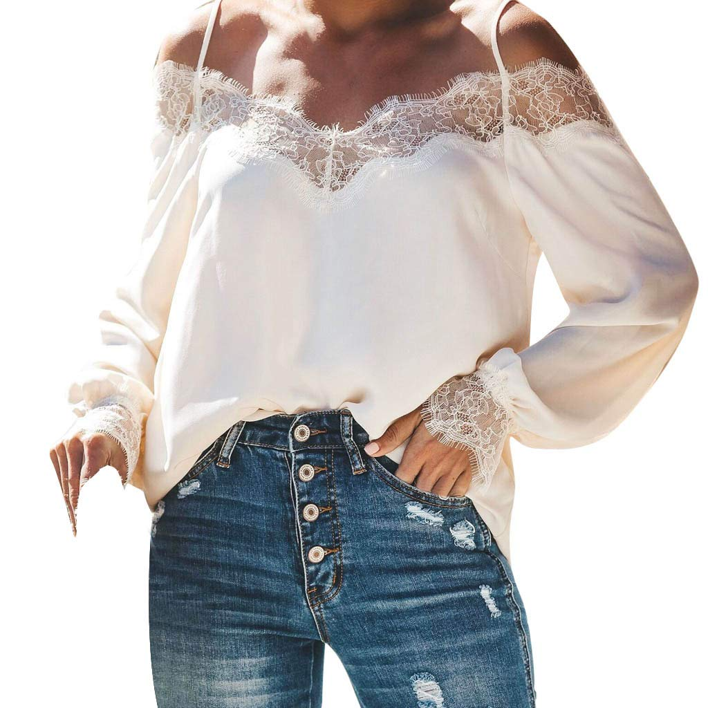 Blouses for Women Fashion 2019 Camisole Lace Splicing Pure Color Long Sleeves T Shirt Tops White