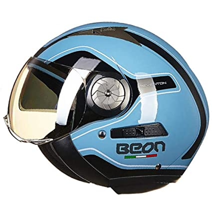 AEMAX, Casco De Moto Scooter Eléctrico Retro Casco De Doble Lente Protección UV Medio Casco