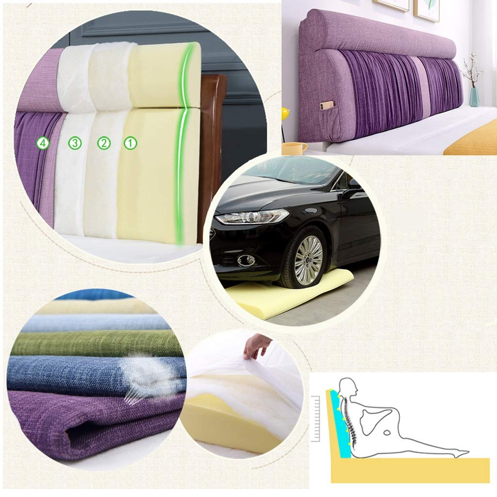 Color : A, Size : 120CM Large Soft Upholstered Headboard Cushion Wall Pillow Lumbar Pad Bed Backrest Breathable Removable Washable