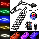 Car Interior Lights, USB 4x12 LED Car Neon Atmosphere Lamp Lights by GOLDFOX, Music Sound-activated LED Lighting kit Car Auto Decoration, Footwell Lights Car LED Strip Lights with Dual USB Car Charge