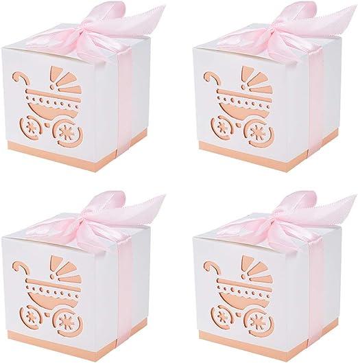 BENECREAT 50 Pack Cajas de Ducha para Bebé Cajas de Caramelos Cajas de Regalo con Cinta Decorativa - Rosado 6x6x6cm: Amazon.es: Hogar