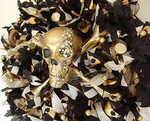 Gasparilla Pirate Festival (XL Pirate Skull and Crossbones Front Door Wreath, Halloween Porch or Yard Prop, Gasparilla Festival, Luxury High End Fancy luxe, Handcrafted)