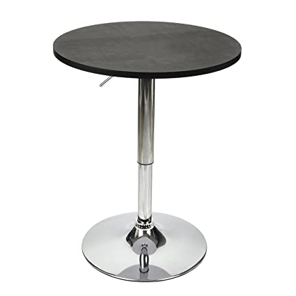 Amazon 35 inches height round bar table adjustable height 35 inches height round bar table adjustable height chrome metal and wood cocktail pub table mdf watchthetrailerfo