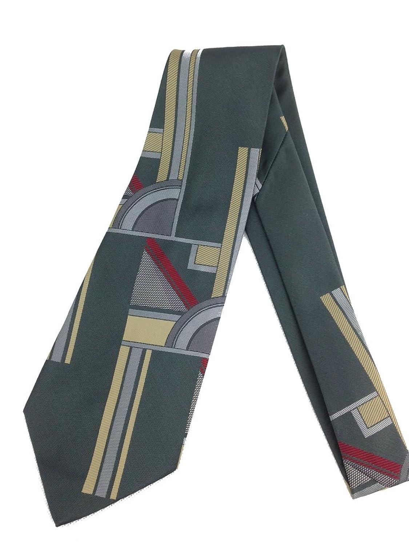 Grey Abstract Geometry Necktie Vintage Jacquard Weave Wide Kipper Art Deco $24.95 AT vintagedancer.com