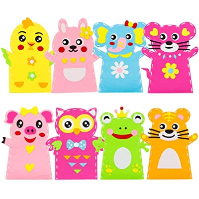 shlutesoy 8Pcs Kids DIY Cartoon Animal Hand Puppet Non-Woven Fabric Handmade Crafts Toy Cartoon Animal Design, Educational Toy Hand Puppet: Home & Kitchen