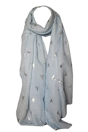 98272a56b Foil Printed Soft Cotton Bird Print Scarves Shawl Wrap Stole Head Scarf  (Blue with Silver): Amazon.co.uk: Clothing
