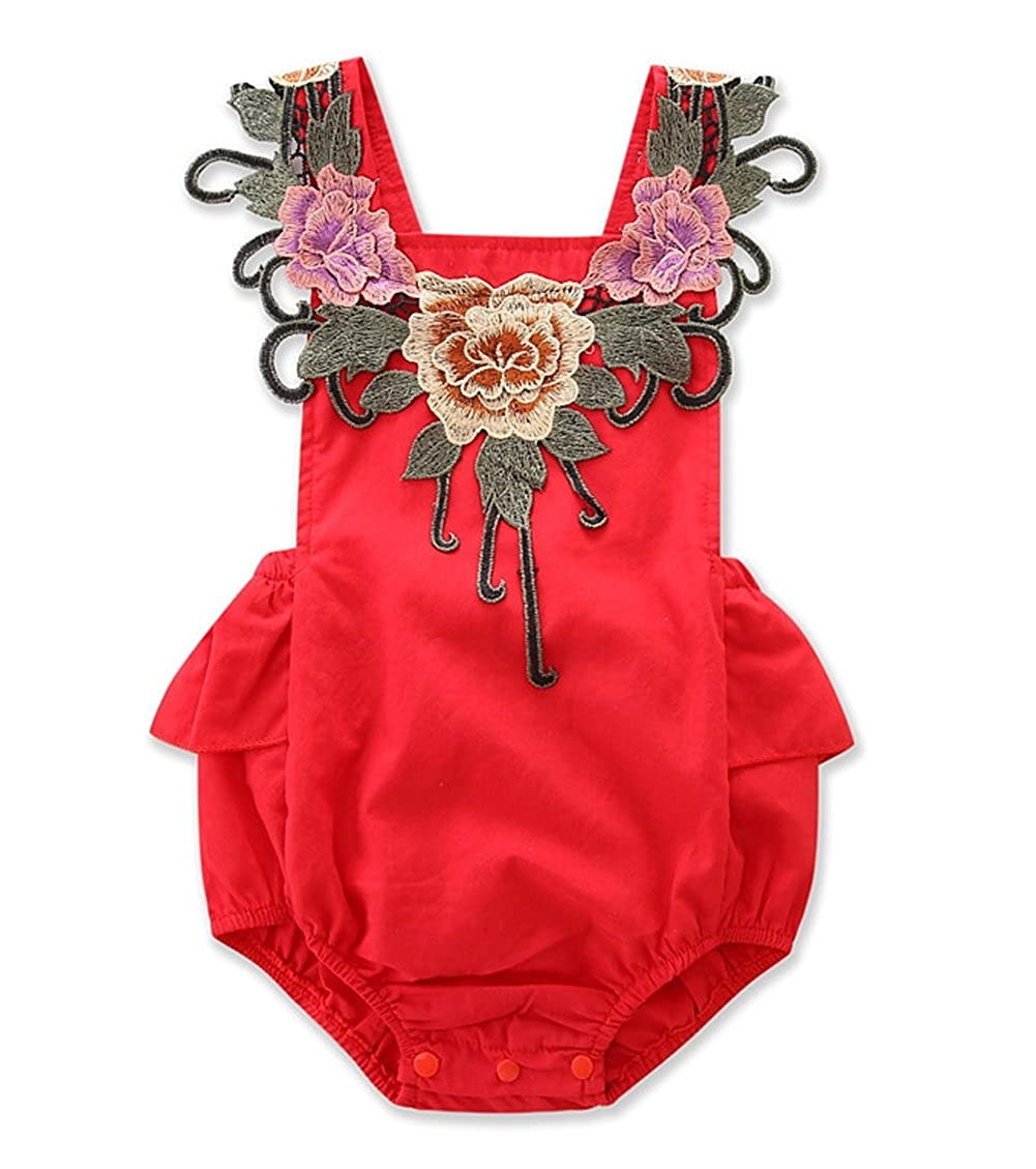 AFirst Baby Girl 3D Flower Applique Romper, Floral Halter and Ruffle Outfits