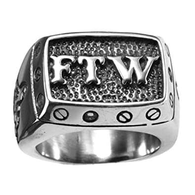OAKKY Jewelry Mens Stainless Steel Punk Biker Rings with Letters
