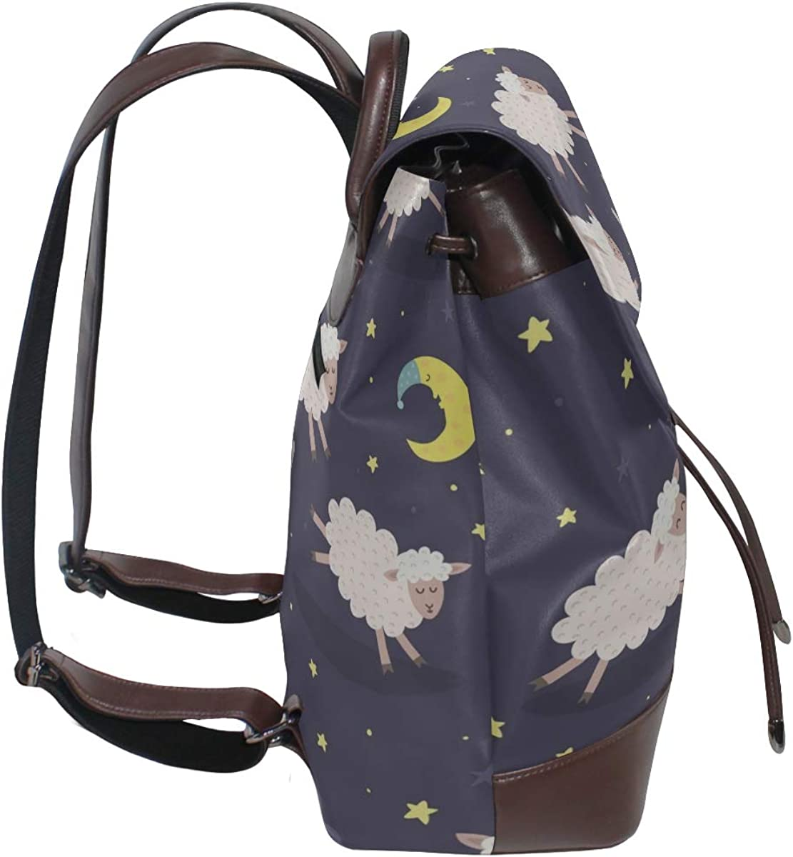 Cute Sheeps Jumping Over A Fence Girls Backpacks Daily Shoulder Bag Drawstring Waterproof Leather Backpack For Kids Fashion Bags For Girls For Women