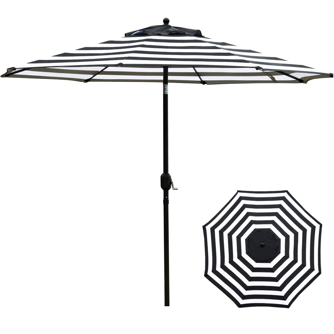 Sunnyglade 11Ft Patio Umbrella Garden Canopy Outdoor Table Market Umbrella with Tilt and Crank (Black and White)