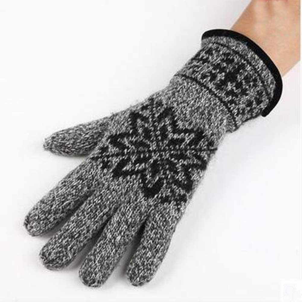 MAGO Autumn Wool Gloves and Winter Men Cashmere Thicken Warm Wool Knitted Cold Gloves Preferential Gloves Color : E