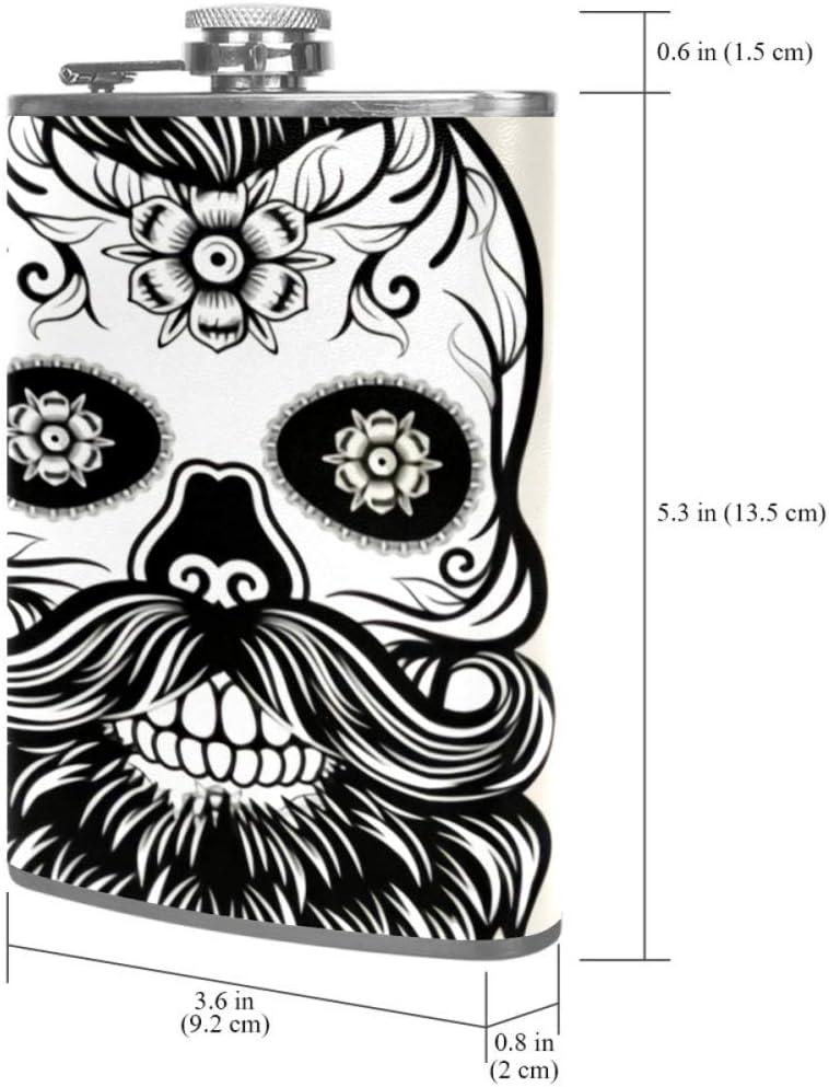Esqueleto de bigote Frasco de la cadera 8 oz con un práctico ...