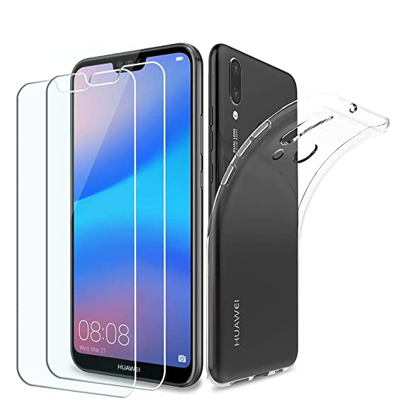[3 in 1 Pack] PULEN Case and Glass for Huawei P20 Lite,Ultra Thin  Transparent TPU Cover [Shock-Absorption] with Tempered Glass Screen  Protector [2
