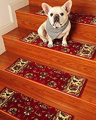 Sydney Carpet Stair Treads 9-inch x 29-inch Use Indoor, Set of 13, Red, Durable, Protects Stairs, Reduces Risk of Slipping