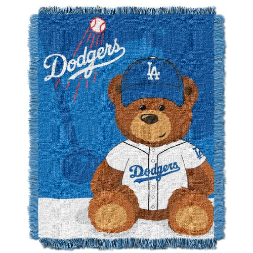 (The Northwest Company MLB Los Angeles Dodgers Field Bear Woven Jacquard Baby Throw, 36