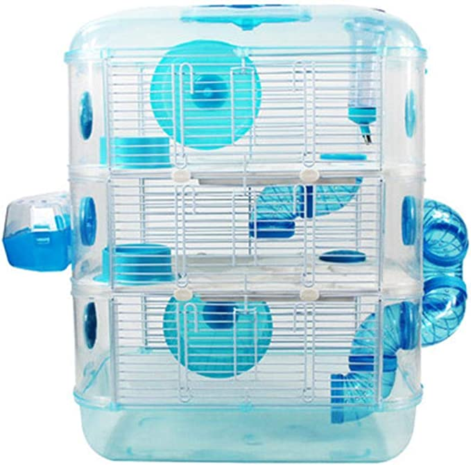 BOPP Jaula para Hamster, El Plastico Jaula Cobaya Tres Pisos Jaula De Hamster, Transparente Impermeable Respirable Portátil Retirable Fácil Instalar Gran Espacio Escalada De Mascotas