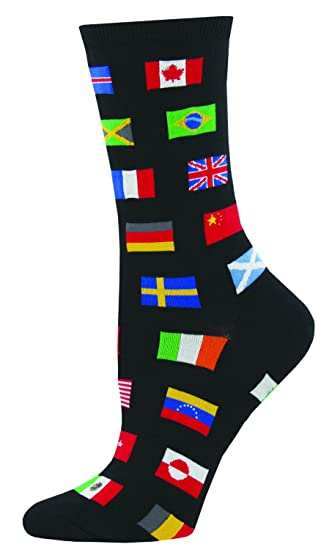 09af67f7d0e39 Socksmith Women's Flags of The World Black 1 One Size at Amazon Women's  Clothing store: