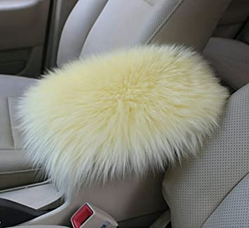Red Universal Fit Real Sheepskin Wool Fur Soft Fluffy Auto Center Console Cover Furry Armrest Cover for Car