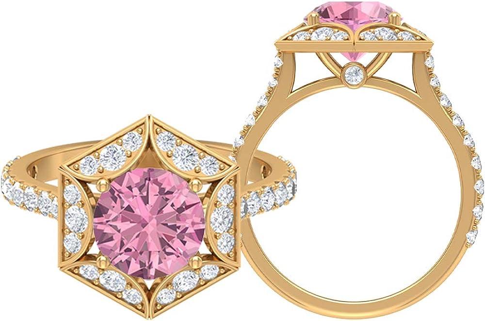 Anillo hexagonal solitario, piedra redonda de 2,94 quilates, turmalina D-VSSI, turmalina de 8 mm, anillo de compromiso Art Deco, anillo de ajuste de corona, 10K Oro