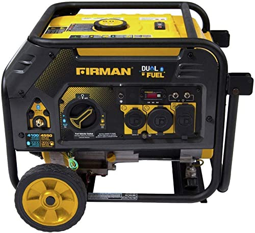 Firman H03652 4550 3650 Watt Recoil Start Gas or Propane Dual Fuel Portable Generator CARB and cETL Certified with Wheel Kit, Black