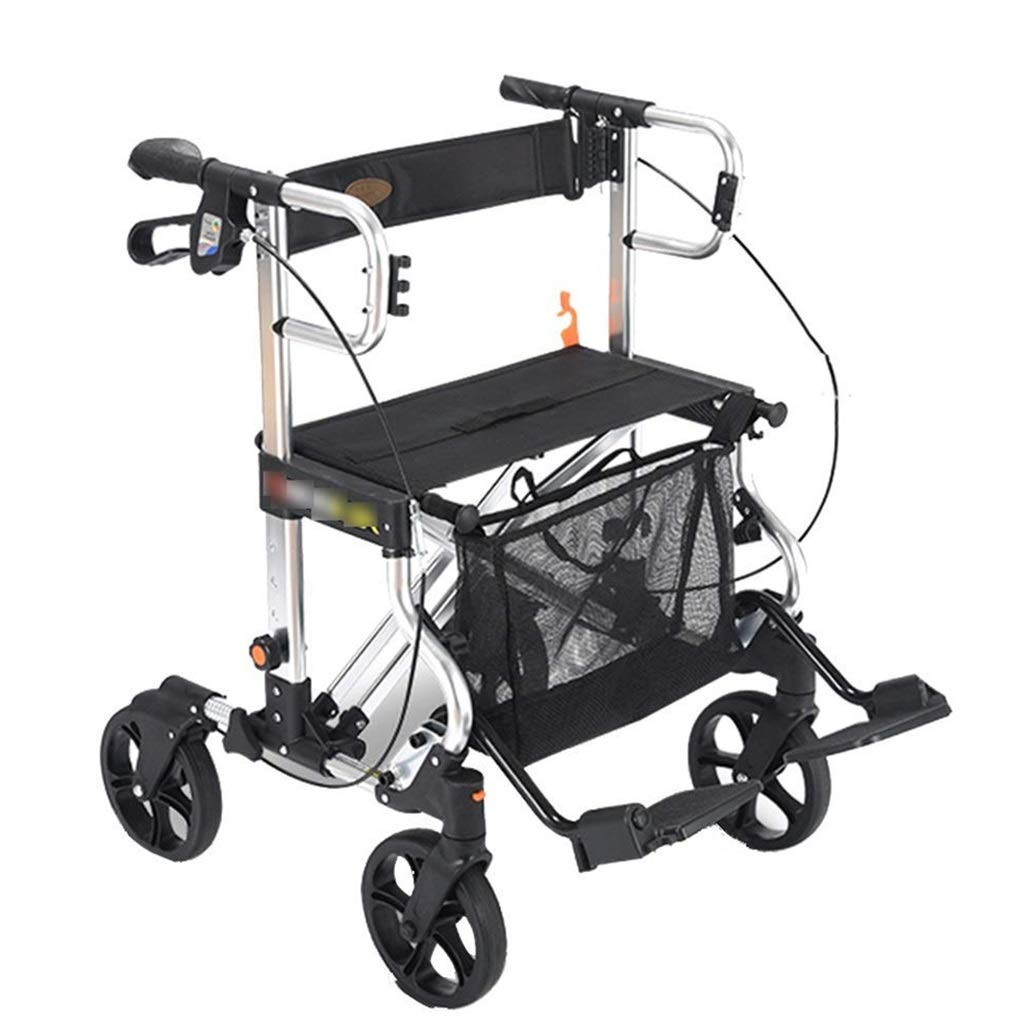 Lightweight Folding Four Wheel Rollator Walker with Seat, Cushioned Seat Restraint Movement Assist Height Adjustable Handle and Back Support Auxiliary Walking Safety Walker (Color : Black) by YL WALKER