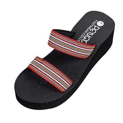 ❤️Été Nouveau Sandales Bohemia Beach Platform Pantoufles de Bain Wedge Slope Chaussons Femme Chaussures Sandales Pantoufle intérieure Et extérieure Tongs Plage Binggong