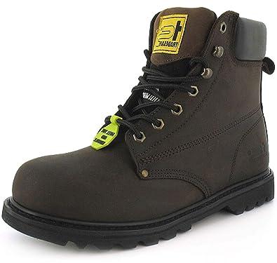 Mens Gents Ladies Womens Brown Steel Toe Cap Boots - Brown - UK ... f800d359e01
