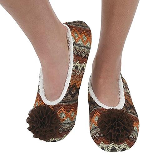 Snoozies Womens Aztec Ballerina Comfort Sole Slipper Socks - Blue Large