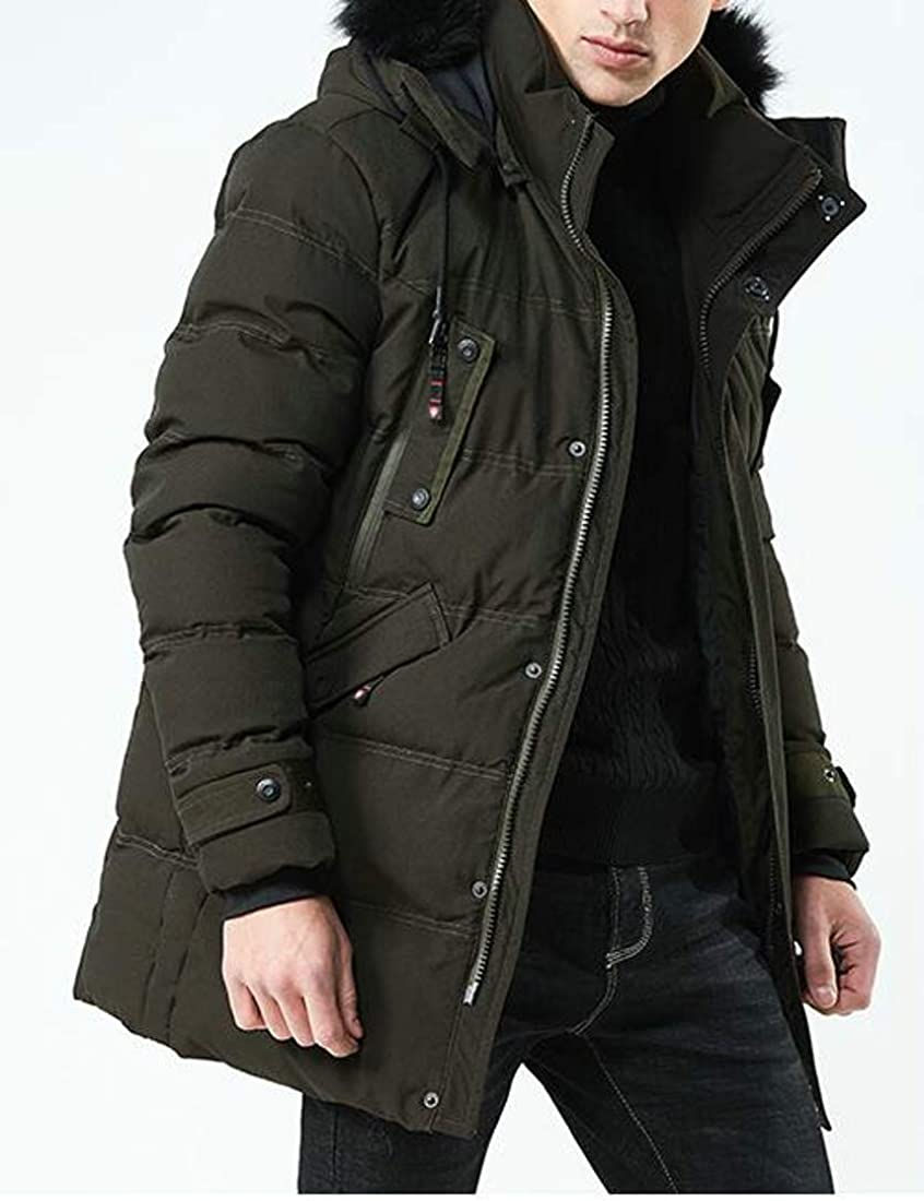 Pluszing Men Overcoat Thicken Quilted Down Jacket Hooded Outwear Parkas Coat