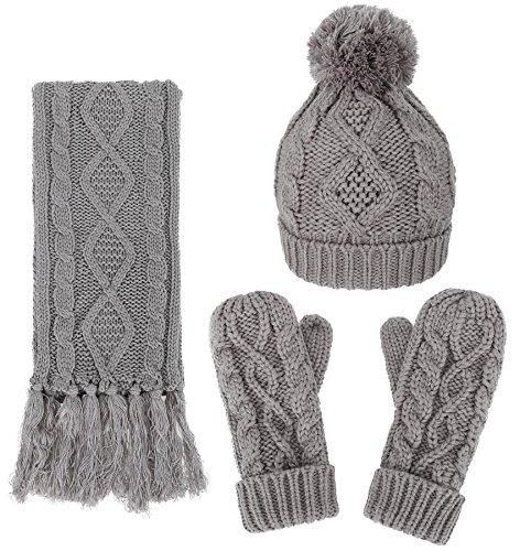 3 Piece Mitten Set (Women's Winter Warm 3PC Grey Cable Knit Gloves Scarf Beanie Hat Set)