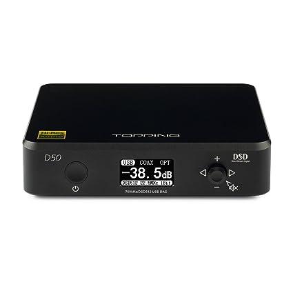 TOPPING D50 HiFi Audio DAC ES9038Q2M2 XMOS XU208 DSD512 USB 32Bit/768KHz  DSD512 Decoder (Black)