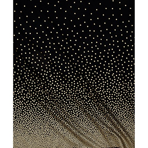 Michael Miller Glitz Metallic Confetti Border Pearlized Fabric by the Yard, Black/Bronze (Pearlized Border)