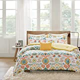 5-piece Comforter Queen, Unique Floral Pattern All Over It, Beautiful Medallion Design and Gorgeous Bird Motif, Fancy and Rich, Vibrant Yellow and Multi Color