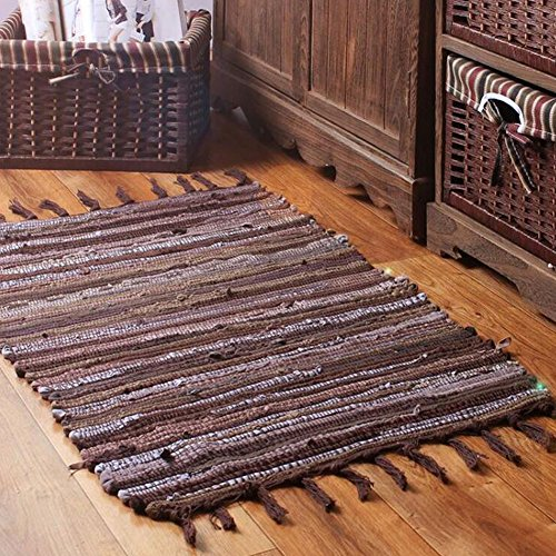 HomDSim 20×30 inch Handmade Cotton Area Bath Rag Rugs Heavy Woven Stripe Mat Carpet with Tassels for Laundry Room Kitchen Bathroom Livingroom Hallway …