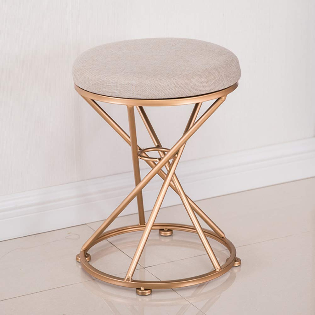 M 34x45cm(13x18inch) Round Metal Stool,Flannel Fabric Make up Stool,Modern upholstered Footstool for Home-A 34x45cm(13x18inch)