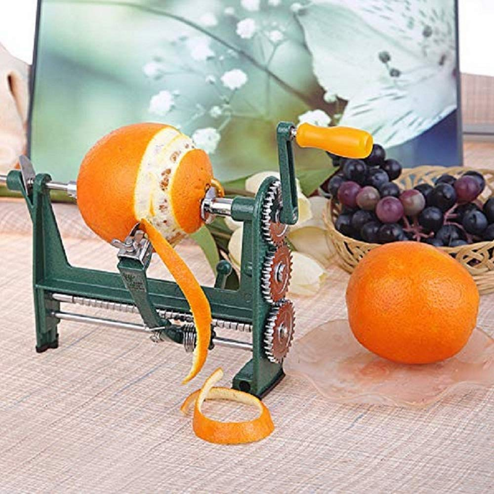 HTYX Orange Peeler Hand-cranked Apple Mango Kiwi Peeling Machine Peeling Household Kitchen Stainless Steel Gadgets Cyan 250×110.6×170mm