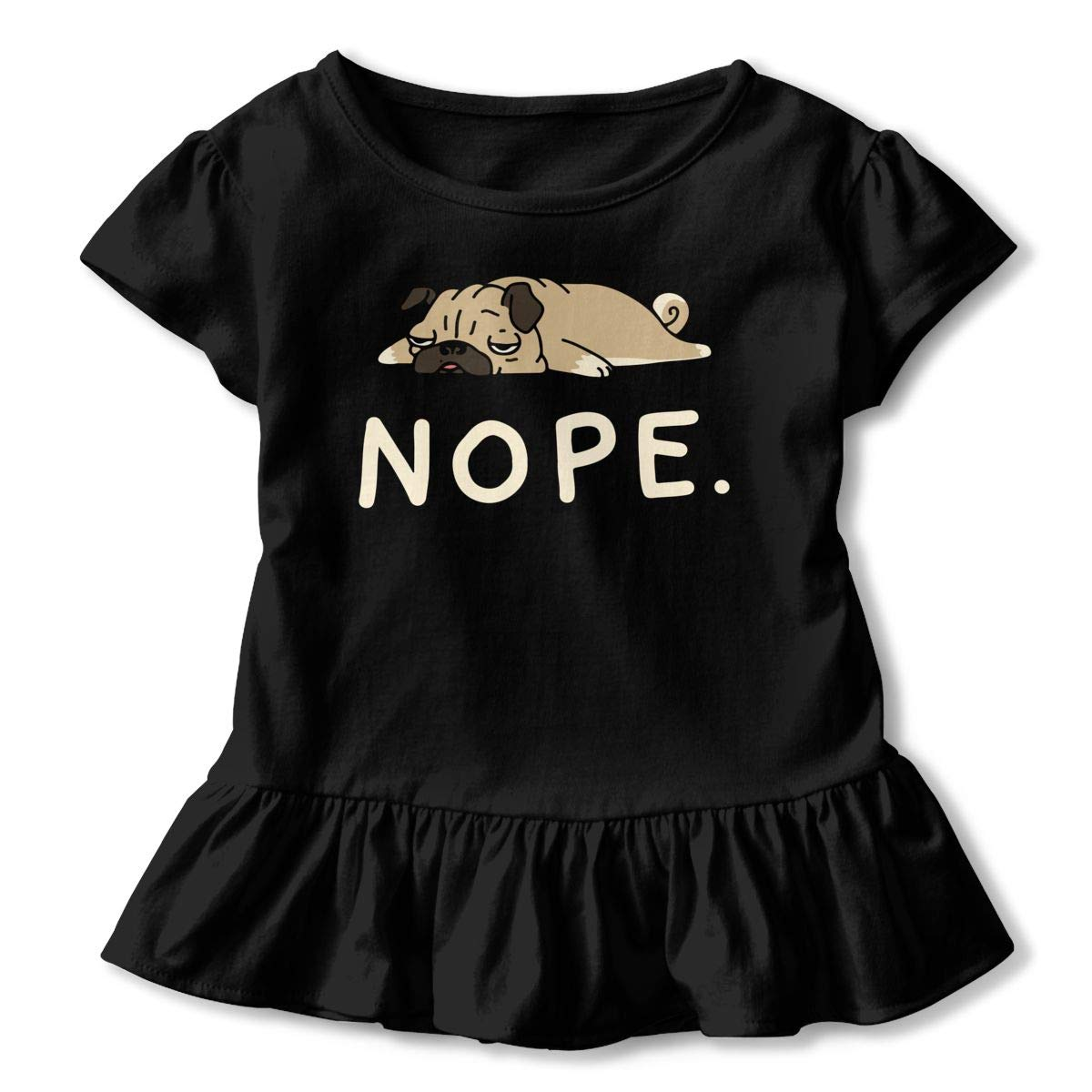 CZnuen Funny Lazy Pug 2-6T Baby Girls Cotton Jersey Short Sleeve Ruffle Tee